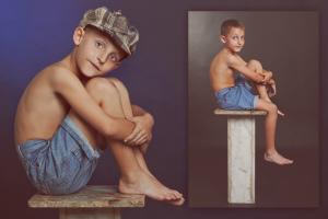 צילום פורטרט של ילד בן 7 בסטודיו בסגנון מיושן