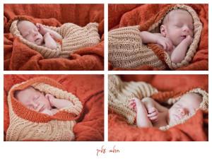 קולז' מתמונות תינוק על בדים כתומים